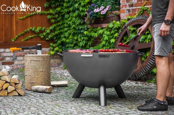 Premium Gartengrill Feuerschale Ø 85cm, Bratplatte und Grillrost