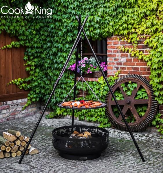 Schwenkgrill 180 cm - Grillrost aus Rohstahl Ø 70cm und exclusive 80cm Feuerschale