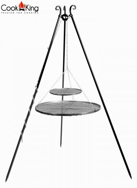Schwenkgrill 180 cm mit Doppel-Grillrost aus Rohstahl Ø 40cm + Ø 80cm