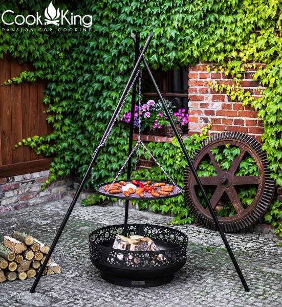 Schwenkgrill 180 cm - Grillrost aus Rohstahl Ø 60cm und hochwertige 80cm Feuerschale