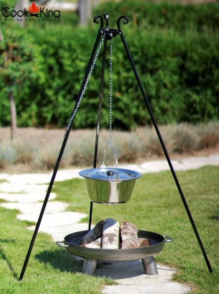 Schwenkgrill 180 cm mit Edelstahltopf 10L und Feuerschale Ø 70cm